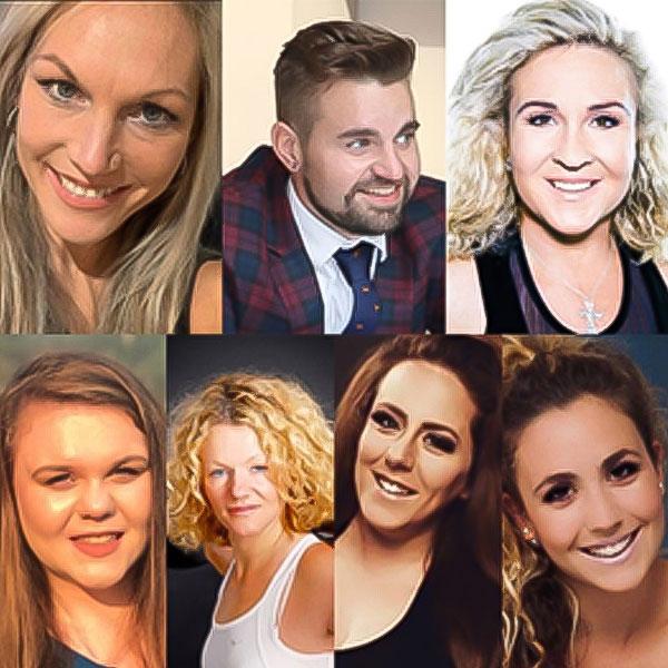 Lisa Cuerden, Ryan Graham, Unnur Palmer, Kat Smith, Suzie Hopkins, Dominique Parlatt, Stefania Du Toit