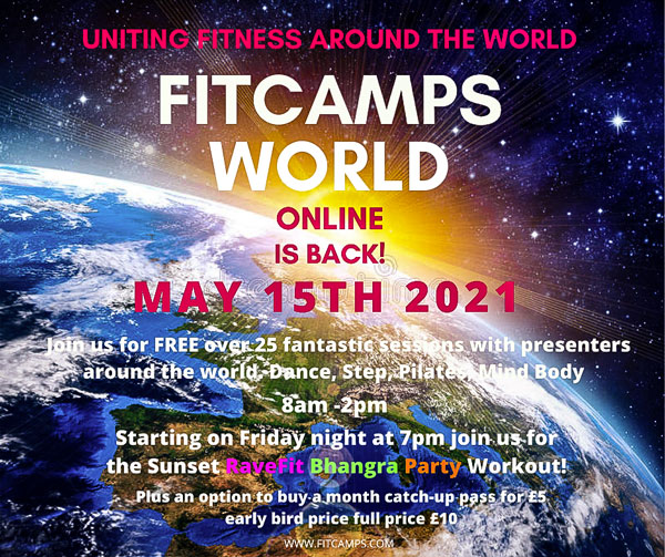 Let us lift you in Lock down at FitCamps World online event. Join the 1,000s who are part of the FitCamps World Family created by Lydia Campbell. As top International presenters around the world teach fabulous sessions on Zoom & Facebook live. This is a free event with the option to purchase a FitCamps World Event Catch-up pass.