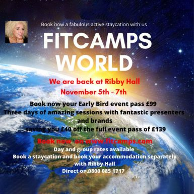 FitCamps World is back at Ribby hall in its 31st year. Are you ready for a fantastic breakaway meet the presenters and brands. Showcasing the best in the industry and total diversity in fitness trends. Educating, motivating and inspiring so many whatever age, shape and fitness level. Nov 5th - 7th at Ribbyhall plus our special uniting birthday.